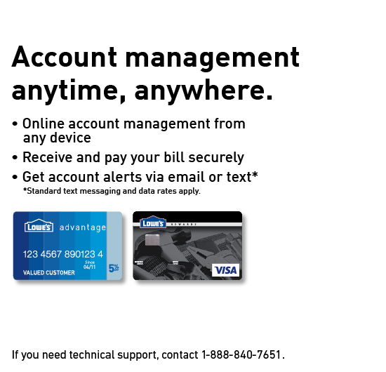 Visa Credit Card Login >> Manage Your Lowe S Credit Card Account